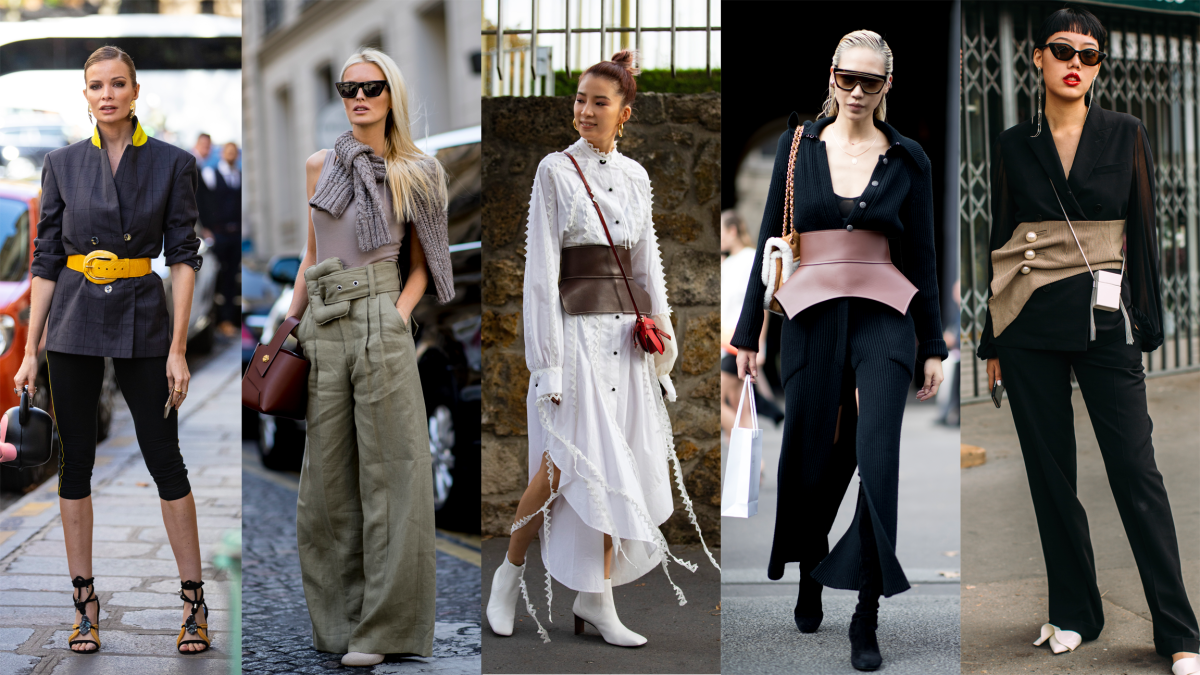 Statement belts at Paris Fashion Week. Photos: Chiara Marina Grioni/Fashionista (2); Imaxtree (3)