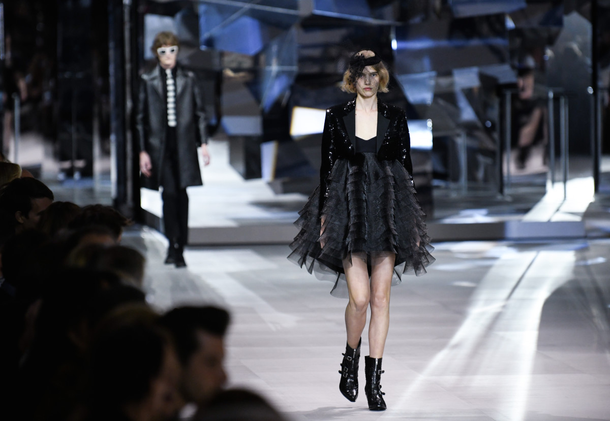 Hedi Slimane's first collection for Celine. Photo: Yanshan Zhang/Getty Images