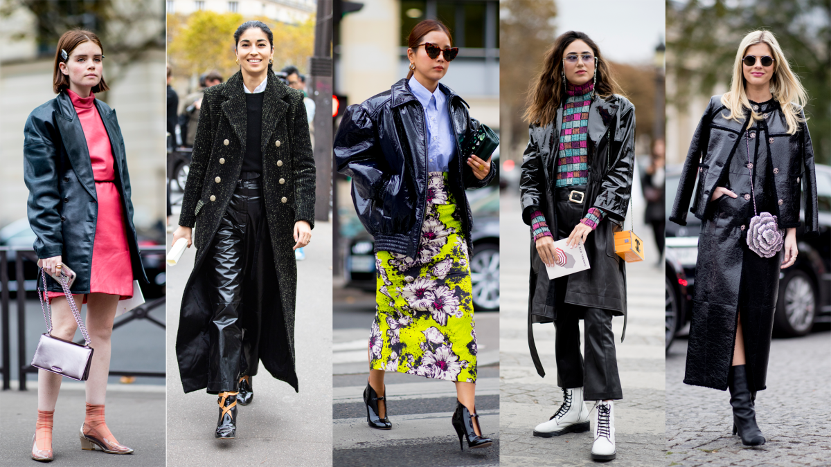 Patent leather at Paris Fashion Week. Photos: Chiara Marina Grioni/Fashionista (1); Imaxtree (4)