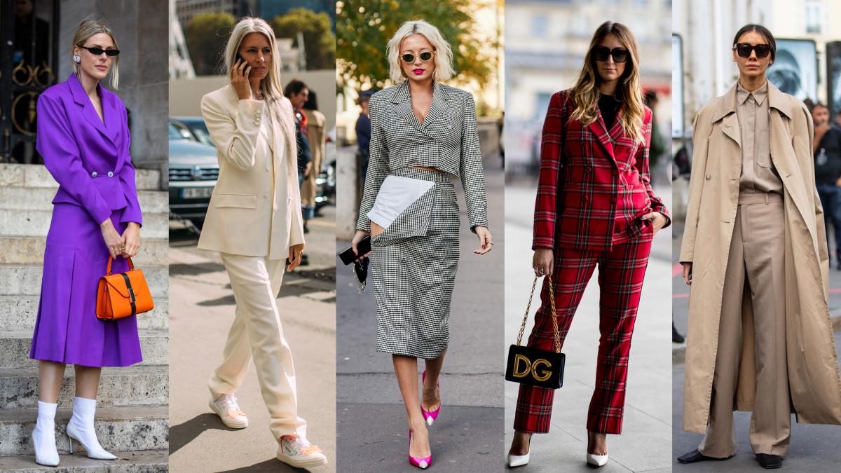 Suits at Paris Fashion Week. Photos: Chiara Marina Grioni/Fashionista (2); Imaxtree (3)