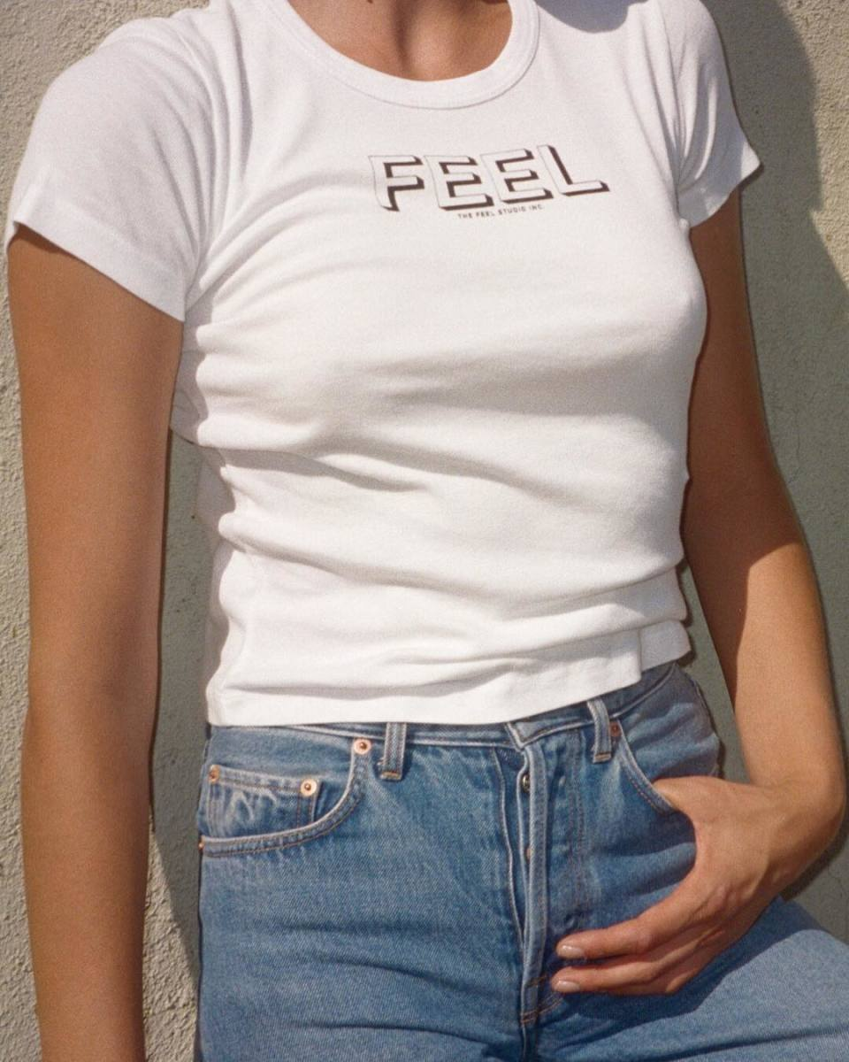 Feel baby-T and jeans by Stevie Dance. Photo: Courtesy of Feel Jeans
