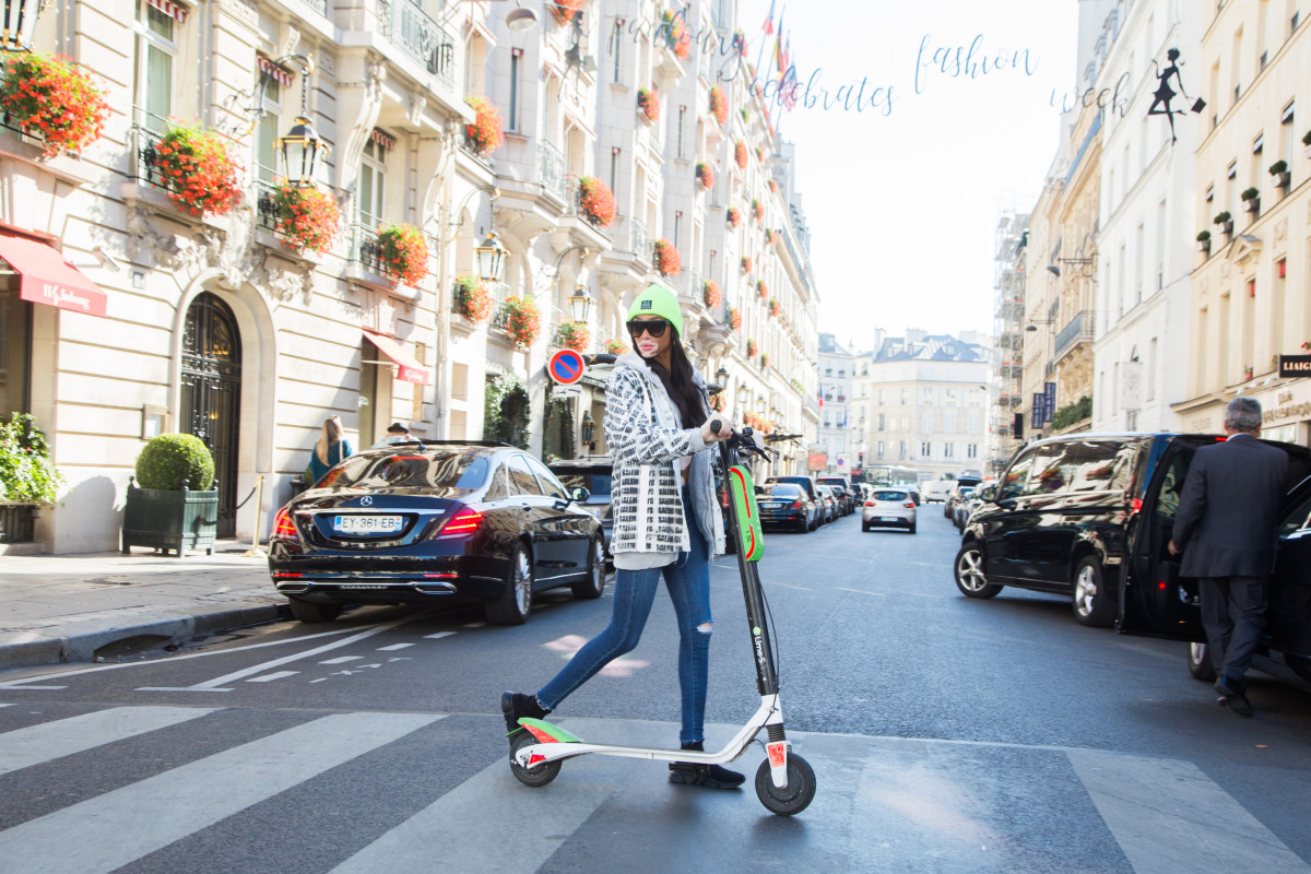 Winnie Harlow on a Lime scooter. Photo: Lime