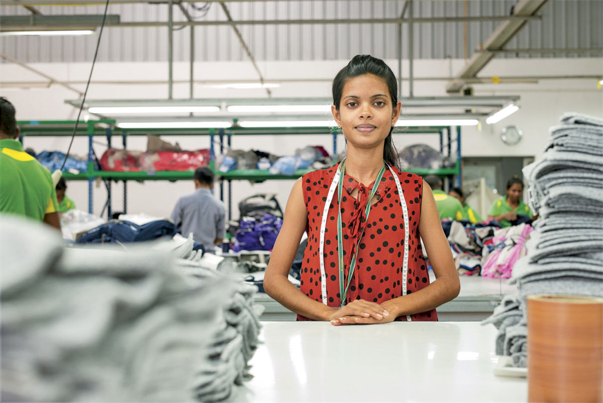 A worker inside the Hirdaramani Mihila Factory in Sri Lanka, a Fair Trade certified factory that makes clothing for Patagonia. Photo: Patagonia