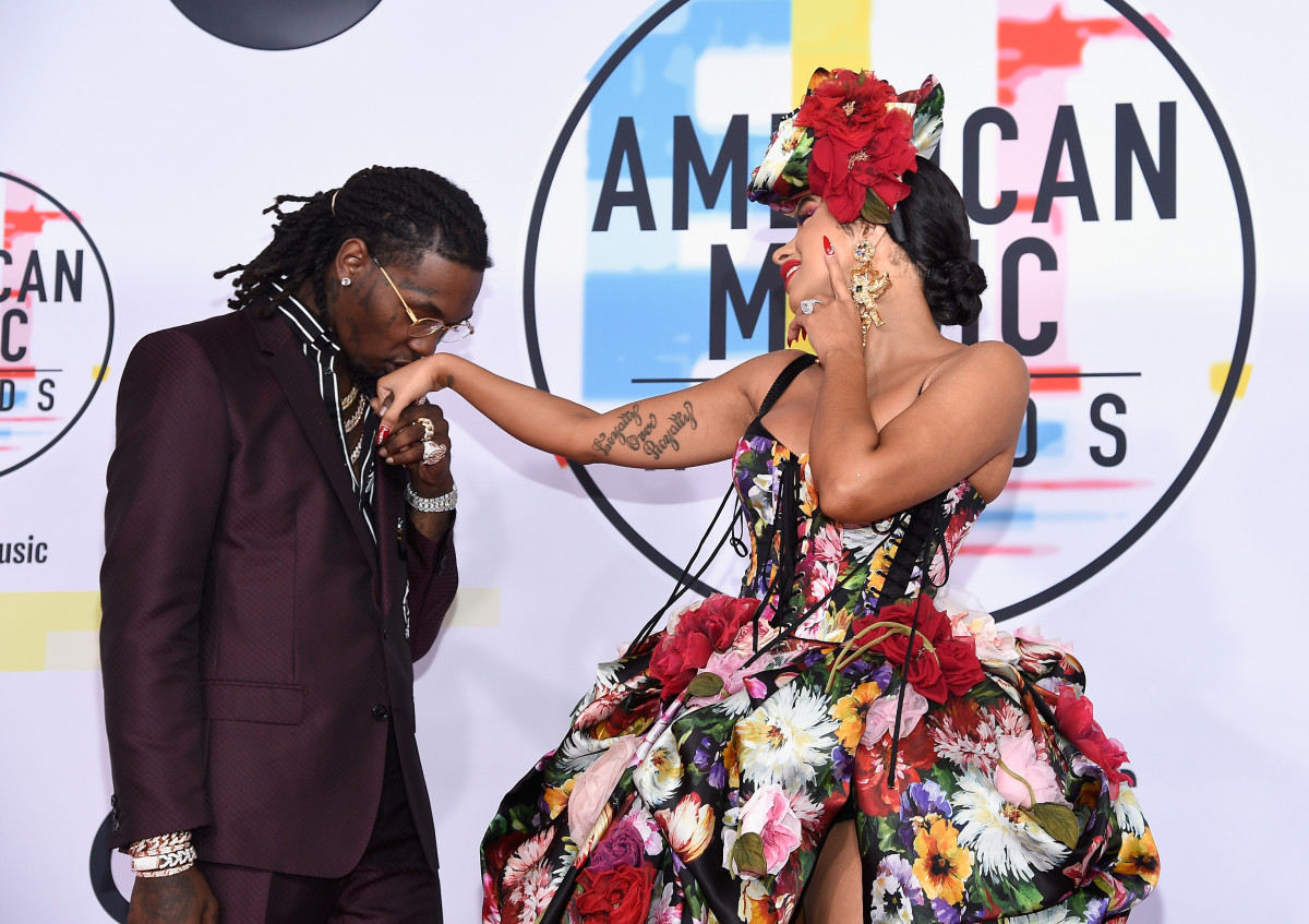 Offset and Cardi B on the red carpet at the 2018 American Music Awards. Photo: Kevork Djansezian/Getty Images