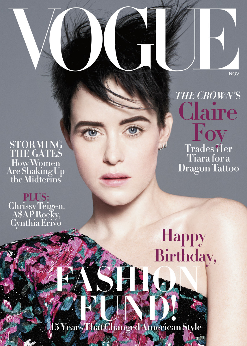 """Claire Foy on the November 2018 cover of """"Vogue."""" Photo: David Sims"""