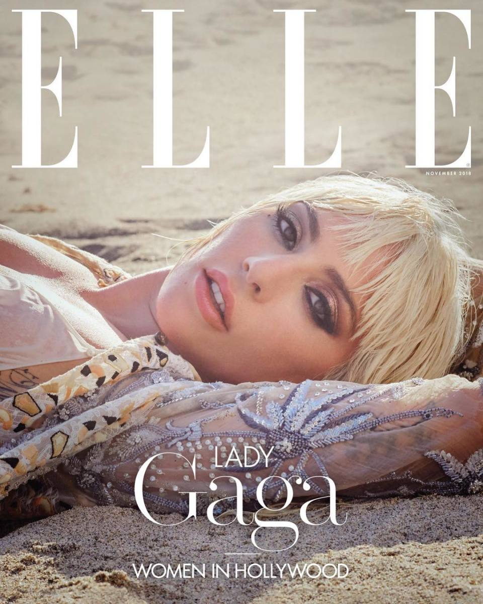 """Lady Gaga on the November 2018 cover of """"Elle."""" Photo:Ruth Hogben and Andrea Gelardin"""