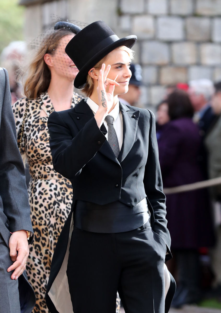 Cara Delevingne at the wedding of Princess Eugenie of York to Jack Brooksbank. Photo: Gareth Fuller/WPA Pool/Getty Images
