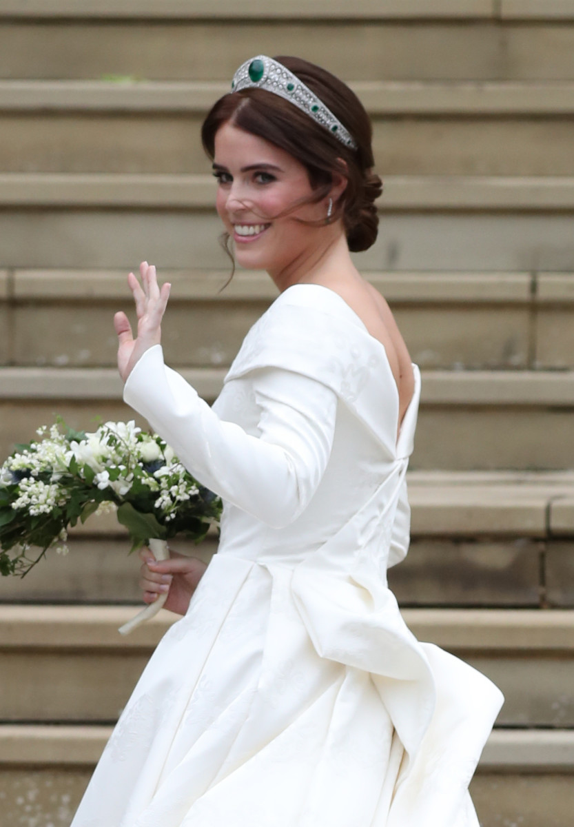 A closer look at Eugenie in her tiara. Photo: Steve Parsons/Getty Images