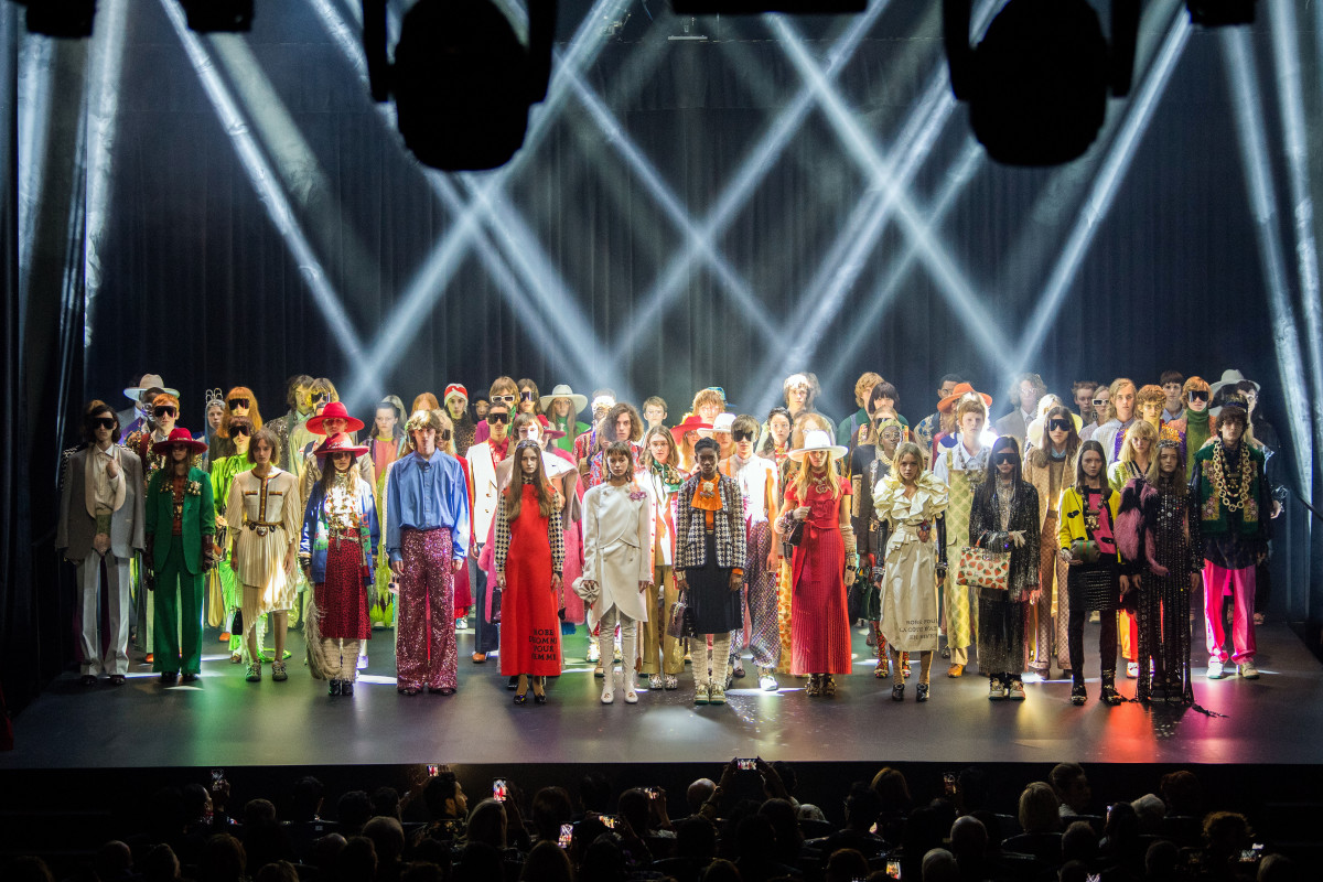 Models pose the on stage at Gucci's Spring 2019 show during Paris Fashion Week. Photo: Daniele Venturelli/Getty Images for Gucci
