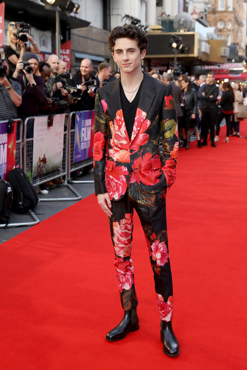 Timothée Chalamet in Alexander McQueen. Photo: Tim P. Whitby/Getty Images for BFI