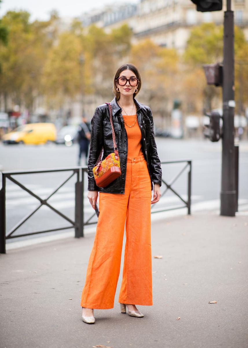 Orange sunglasses at Paris Fashion Week. Photo: Christian Vierig/Getty Images