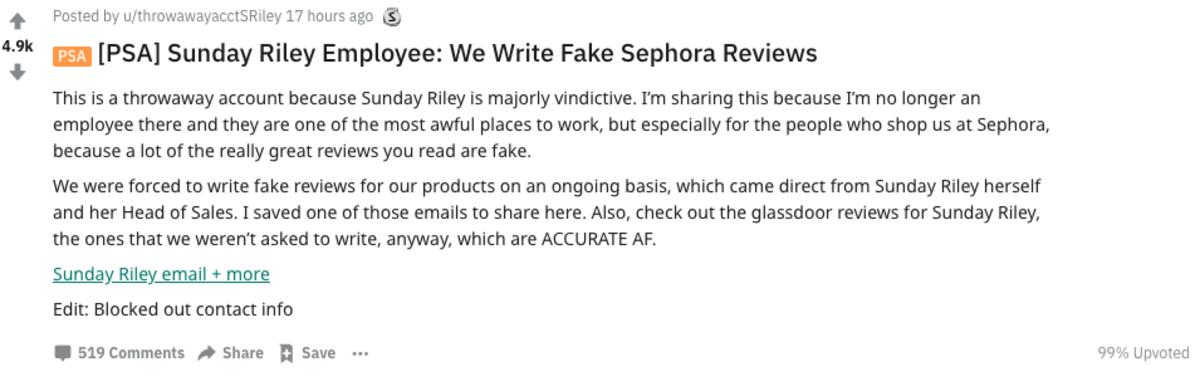 The original Reddit post claiming Sunday Riley posts fake reviews. Photo: Screenshot/Fashionista