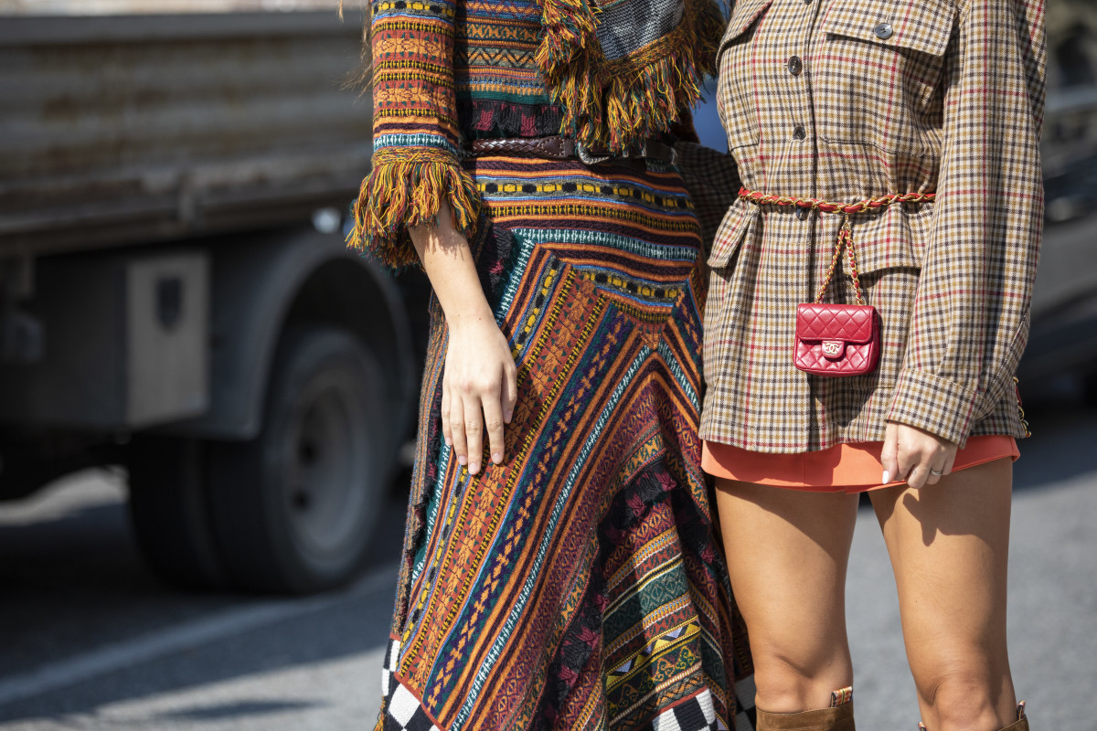 Showgoers before Etro's Spring 2019 show during Milan Fashion Week. Photo: Claudio Lavenia/Getty Images