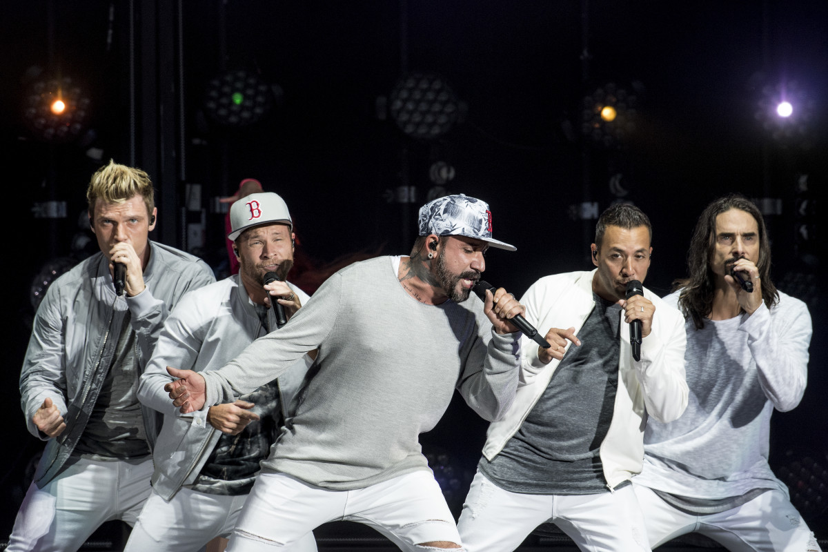 """The Backstreet Boys perform at Fenway Park during their """"Smooth Stadium Tour"""" in July in Boston. Photo: Billie Weiss/Boston Red Sox/Getty Images"""
