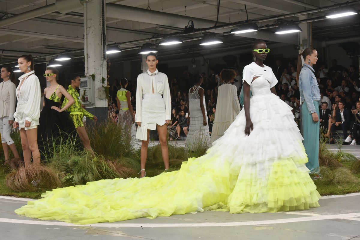 Looks from Off-White's Spring 2019 collection. Photo: Foc Kan/WireImage