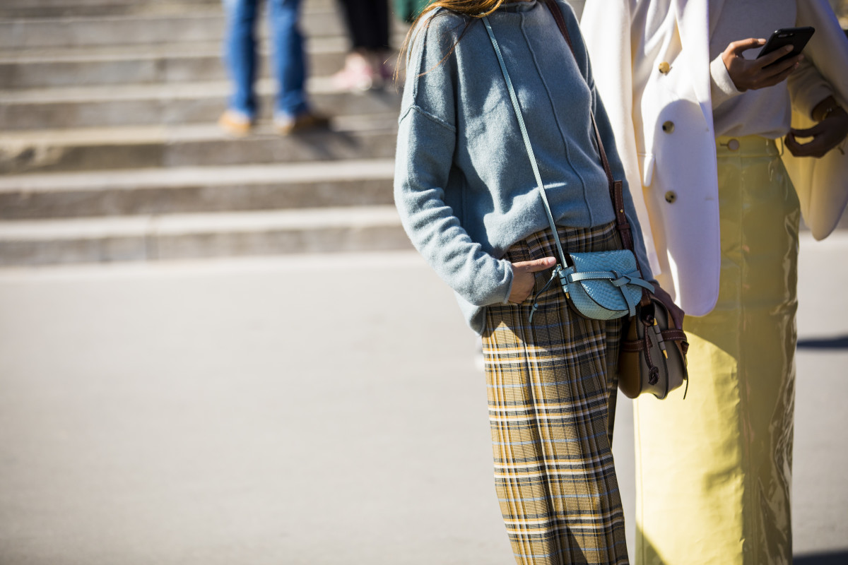 Showgoers at Paris Fashion Week. Photo: Claudio Lavenia/Getty Images