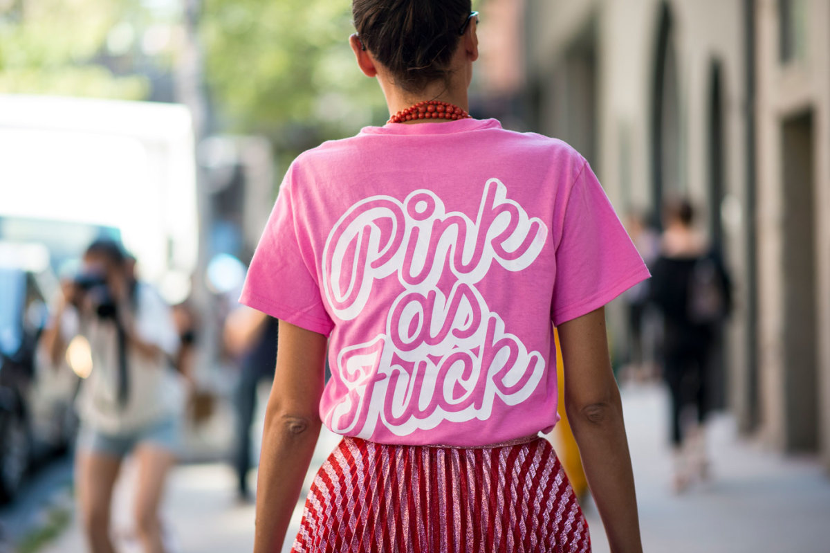 Giovanna Battaglia Engelbert in Pietro Nolita merch. Photo: Imaxtree