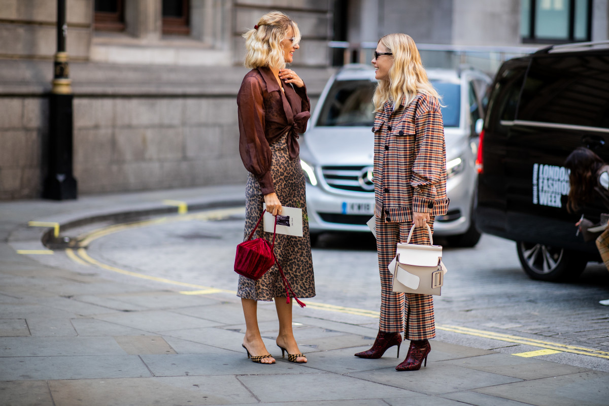 4ba939020 AnneLaure Mais Moureau and Jessie Bush during London Fashion Week's Spring  2019 season. Photo: