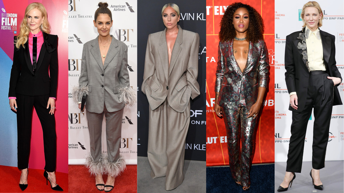 Suit enthusiasts Nicole Kidman, Katie Holmes, Lady Gaga, Eve and Cate Blanchett. Photos: Getty Images