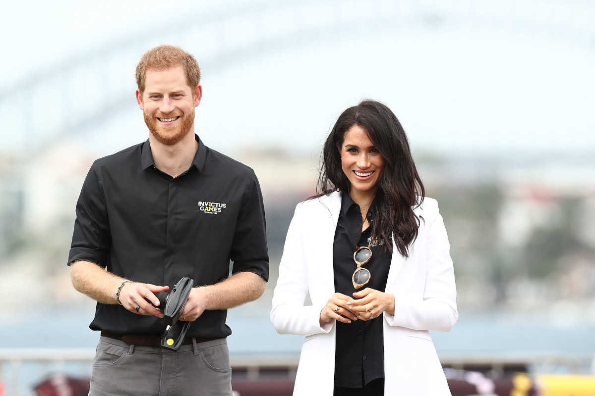Duke of Sussex Prince Harry and Duchess of SussexMeghan Markle,at the Jaguar Land Rover Drive Day at Cockatoo Island in Sydney, Australia.Photo by Mark Metcalfe/Getty Images for the Invictus Games Foundation