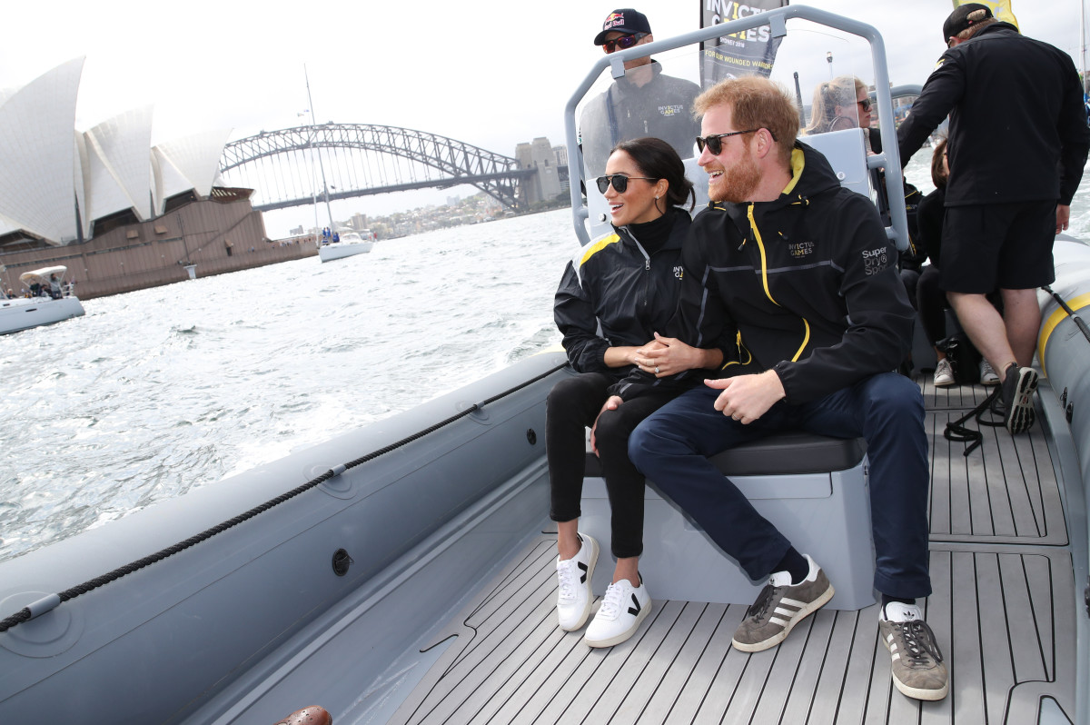 Meghan Markle and Prince Harry watch sailing during the Invictus games in Sydney. Photo: Chris Jackson/Getty Images for the Invictus Games Foundation