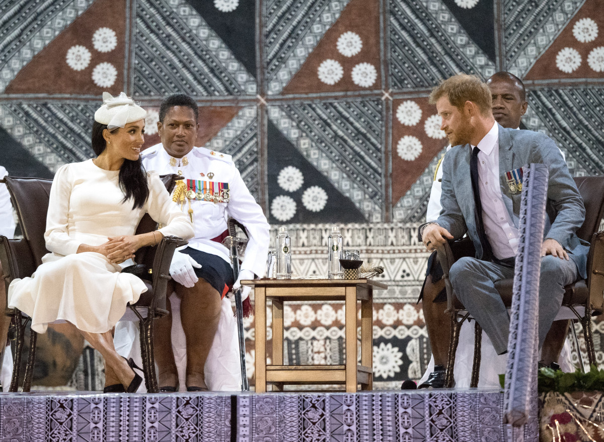 The Duke and Duchess of Sussex attend an official welcome ceremony in Suva, Fiji's Albert Park on Tuesday. Photo: Pool/Samir Hussein/WireImage