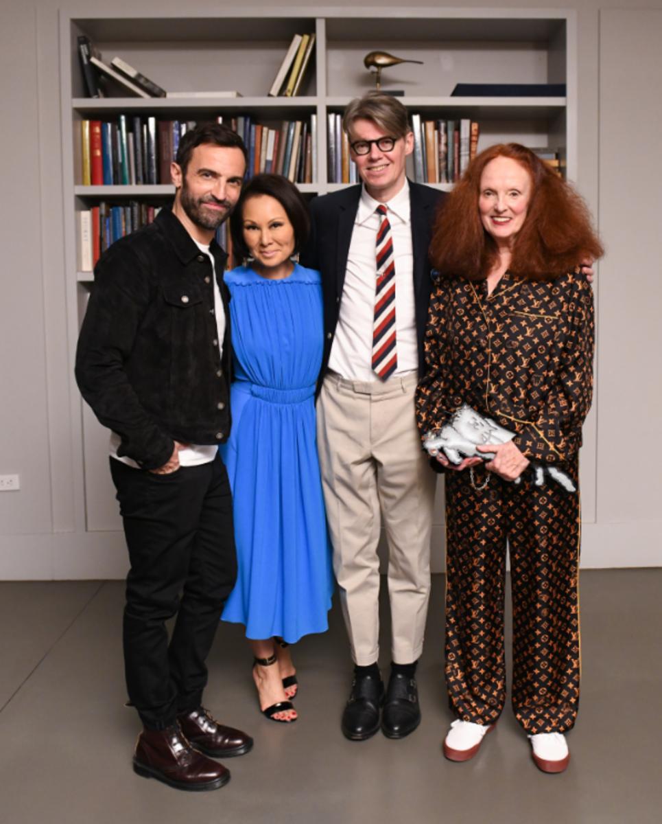 Nicolas Ghesquière, Alina Cho, Andrew Bolton and Grace Coddington at the Met. Photo: Zach Hilty/BFA