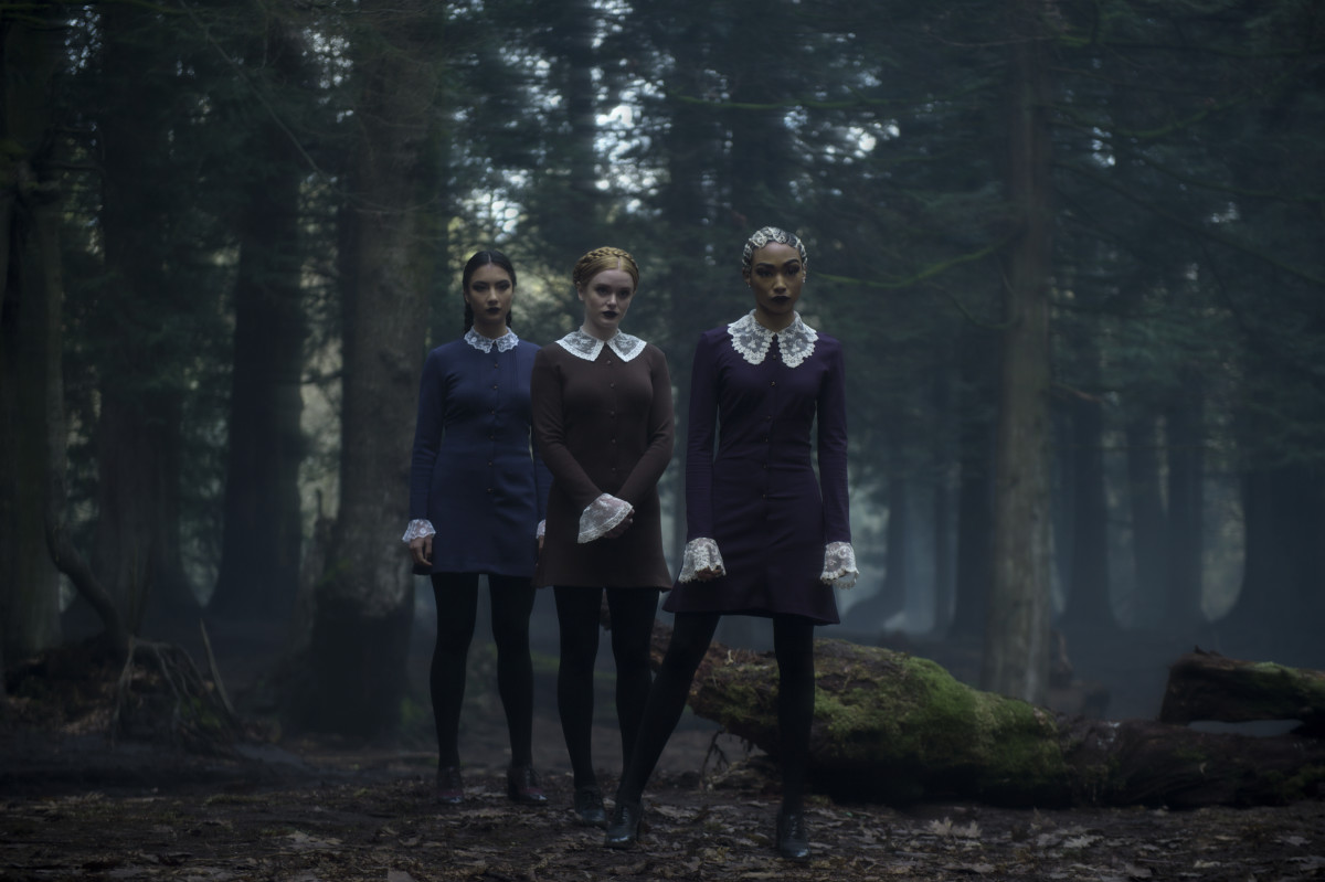 Wednesdays (actually most days) are Victorian lace collar days. Agatha (Adeline Rudolph), Dorcas (Abigail F. Cowen), Prudence (Tati Gabrielle). Photo: Diyah Pera/Courtesy of Netflix