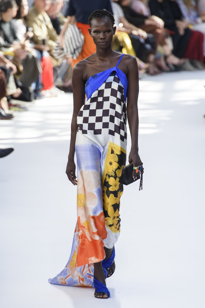 Shanelle Nyasiase from South Sudan walking in the Spring 2019 Dries Van Noten show. Photo: Imaxtree