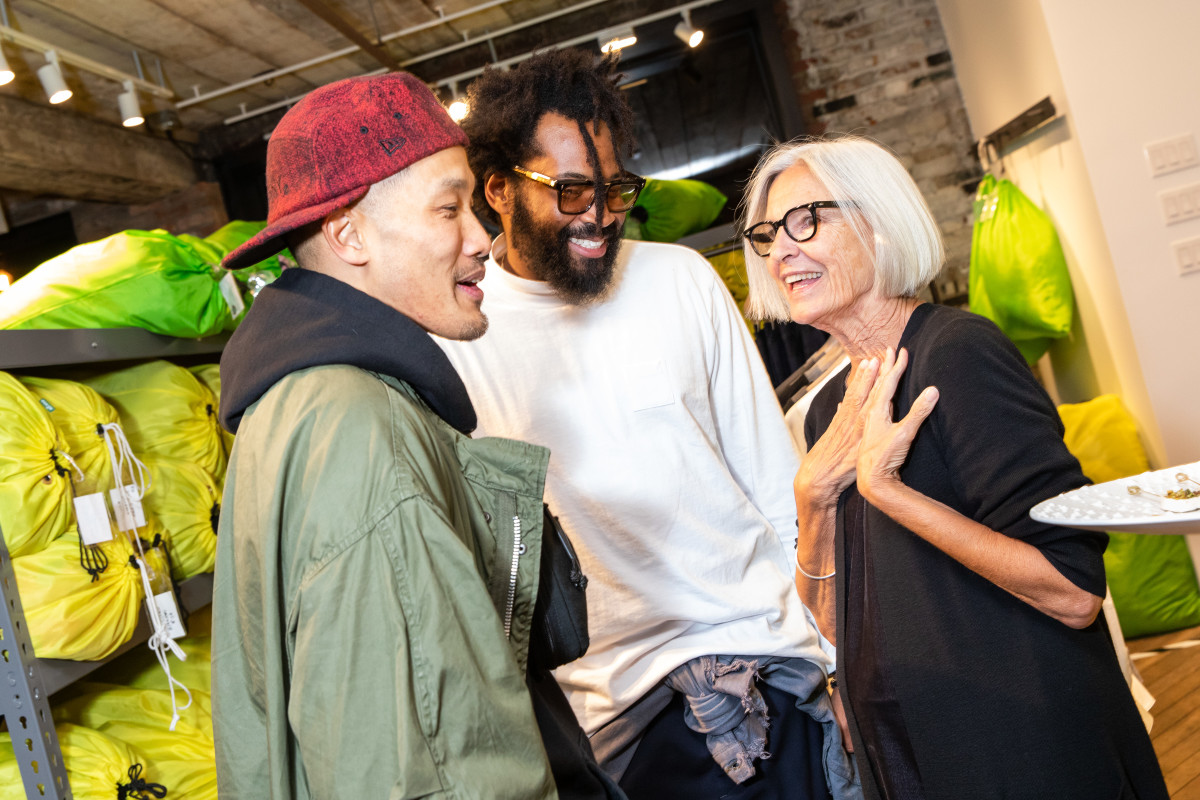 Dao-Yi Chow, Maxwell Osborne and Eileen Fisher at the launch event for their collaboration. Photo: Benjamin Lozovsky/BFA.com