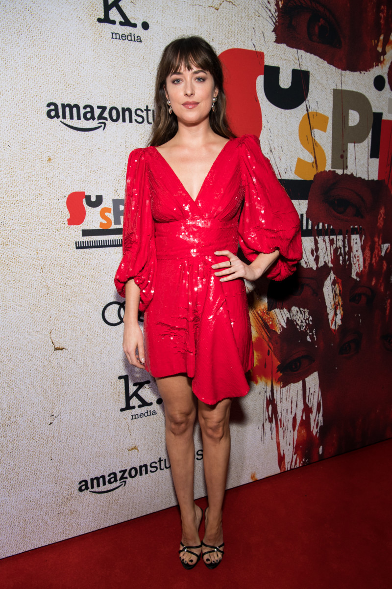 """Dakota Johnson in Celine at the """"Suspiria"""" premiere in Hollywood, Calif. on Wednesday. Photo: Emma McIntyre/Getty Images"""
