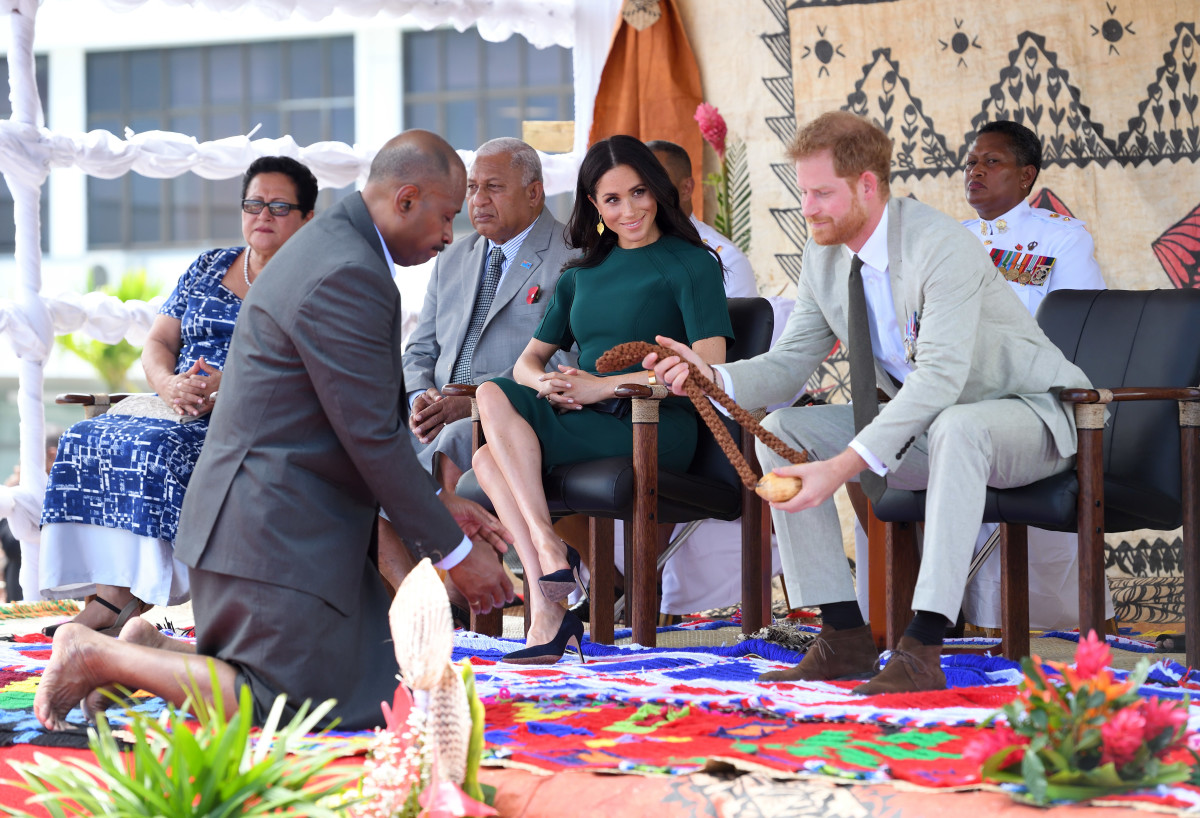 Duchess of Sussex Meghan Markle and Duke of Sussex Prince Harry attend an official welcome ceremony at the Nadi Airport in Nadi, Fiji on Thursday. Photo: Karwai Tang/WireImage