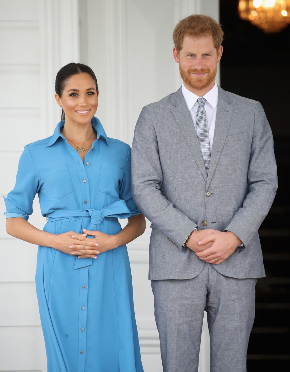 Meghan Markle (in Veronica Beard) and Prince Harry at Tupou College in Nuku'alofa, Tonga. Photo: Chris Jackson/Getty Images