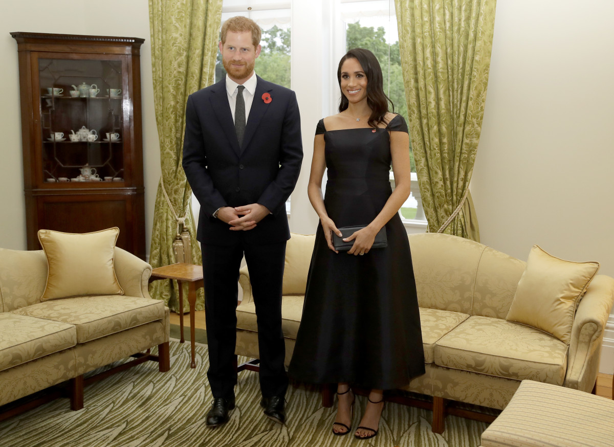 Duke of Sussex Prince Harry and Duchess of Sussex Meghan Markle meet New Zealand Prime Minister Jacinda Ardern in Wellington, New Zealand. Photo: Kirsty Wigglesworth/Pool /Getty Images