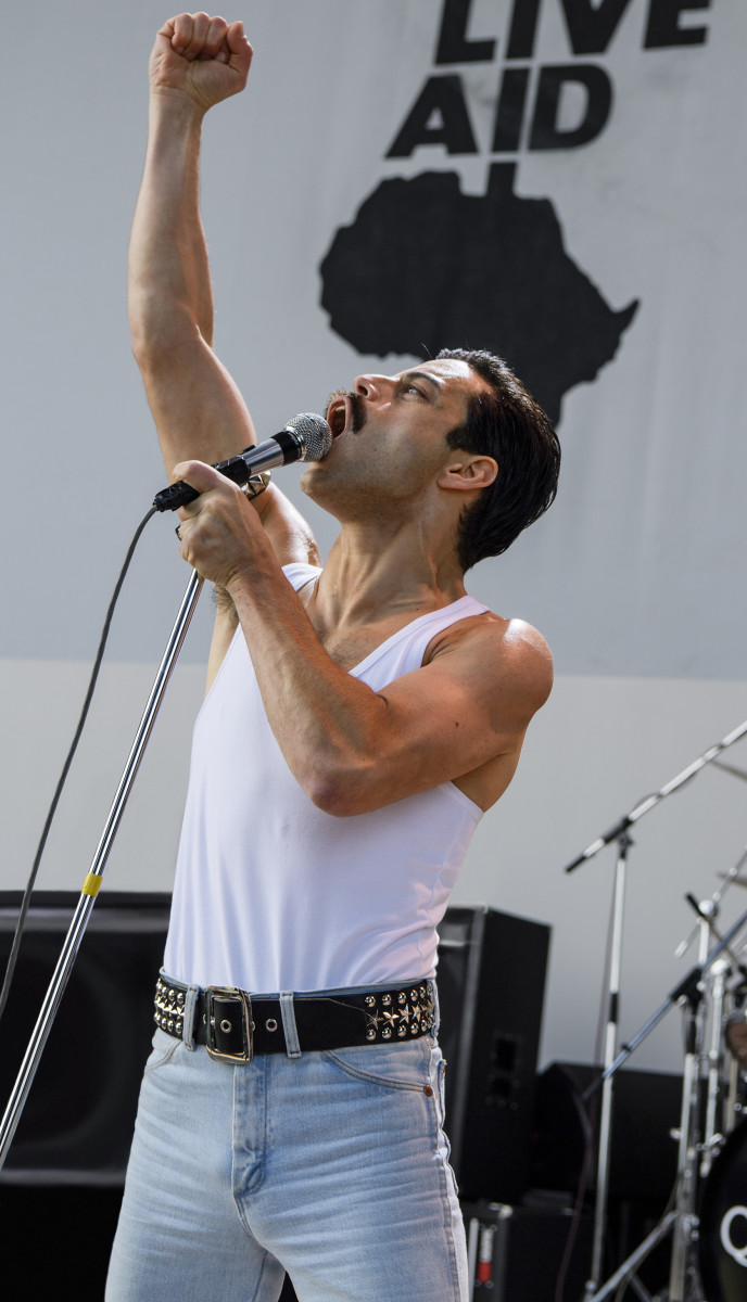 Freddie Mercury (Rami Malek) at Live Aid. Photo: Alex Bailey TM & © 2018 Twentieth Century Fox Film Corporation