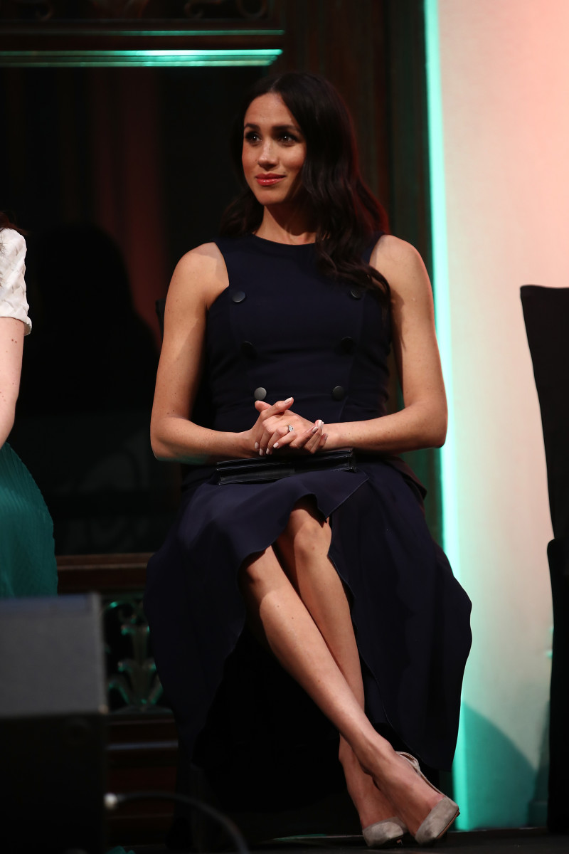 Now that's a royal leg crossing if we've ever seen one! Meghan Markle, the Duchess of Sussex, in Antonio Berardi. Photo: Pool/Getty Images