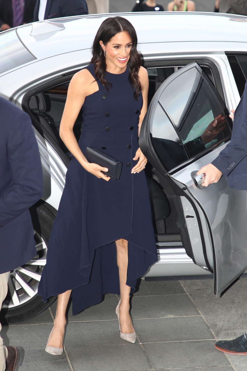 Meghan Markle, the Duchess of Sussex, in Antonio Berardi. Photo: Pool/Getty Images