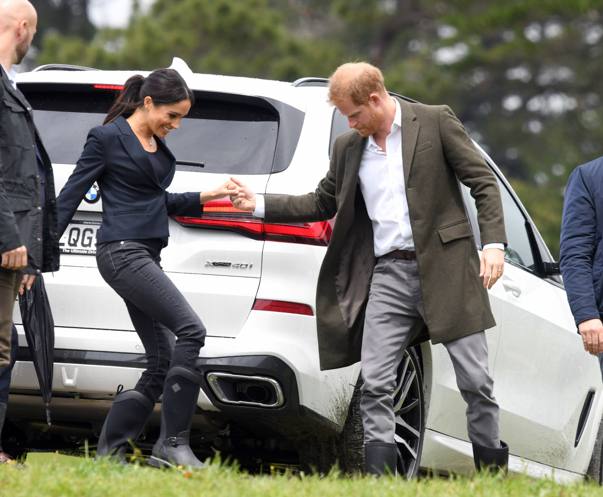 Duchess of Sussex Meghan Markle and Duke of Sussex Prince Harry dedicate an area of native bush to the Queen's Commonwealth Canopy on Tuesday in Redvale, New Zealand. Photo: Karwai Tang/WireImage