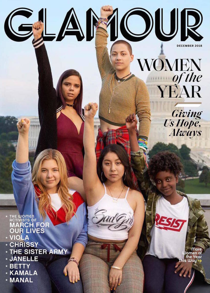 "Samantha Fuentes, Emma González, Jaclyn Corin, Edna Chavez and Naomi Wadler on the December cover of ""Glamour."" Photo: Danielle Levitt"