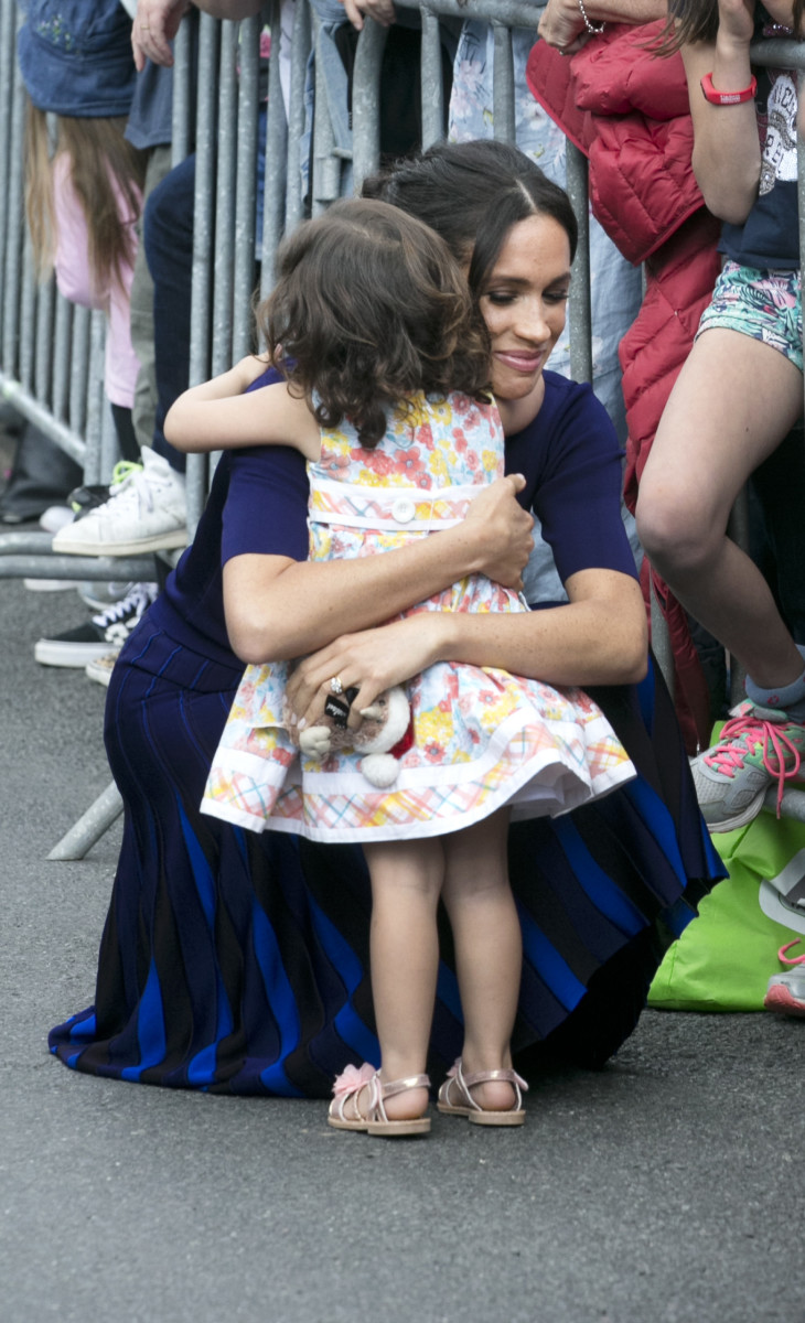 Meghan Markle, the Duchess of Sussex, with 2 year old Catalina Rivera. Photo: Alan Gibson-Pool/Getty Images