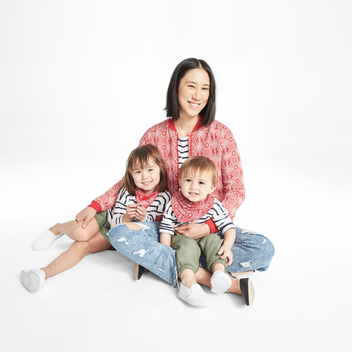 Eva Chen with her children Ren and Tao in her collection for Janie & Jack. Photo: Courtesy of Janie & Jack