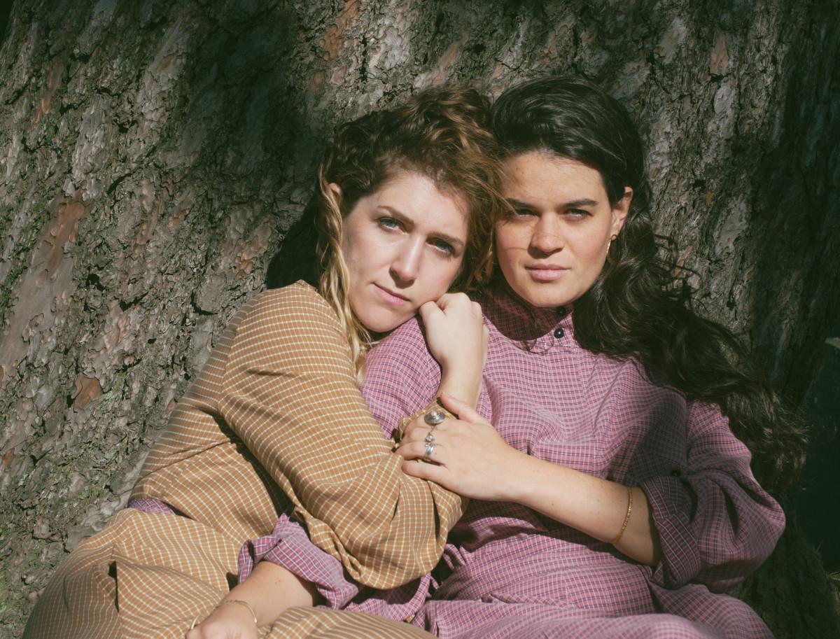 Hana Elion and JJ Mitchell of Overcoats wearing Mr. Larkin, styled by Emily Ruane. Photo: Whitney Bauck/Fashionista