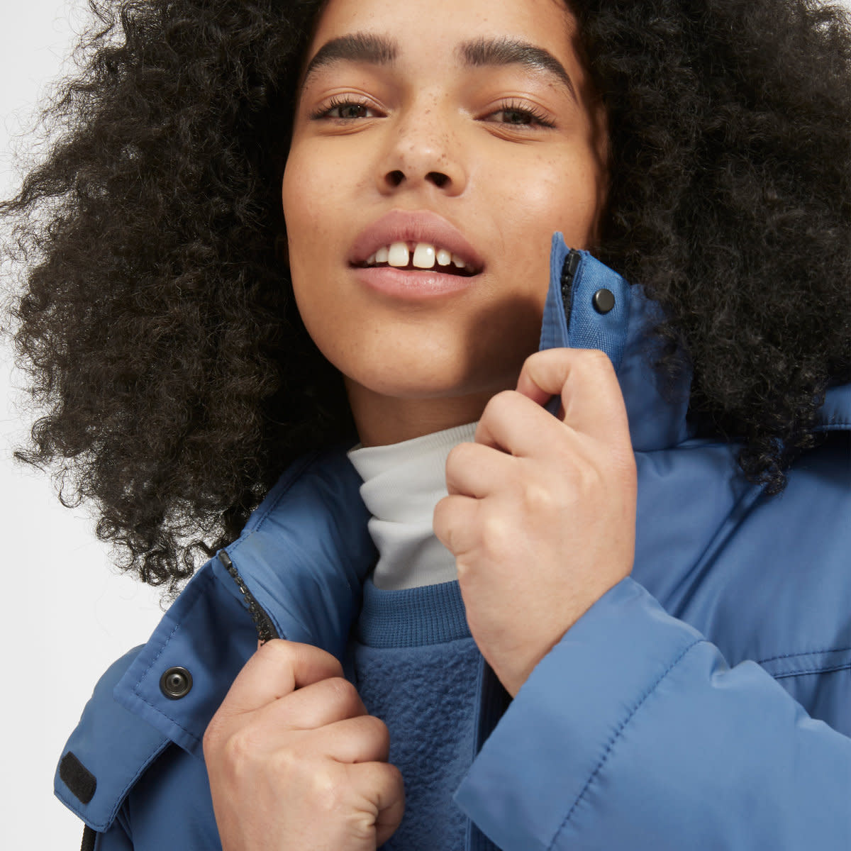 "Everlane's ReNew Oversized Parka in ""French Blue,"" which retails for $165 and launched late last month. Photo: Everlane"