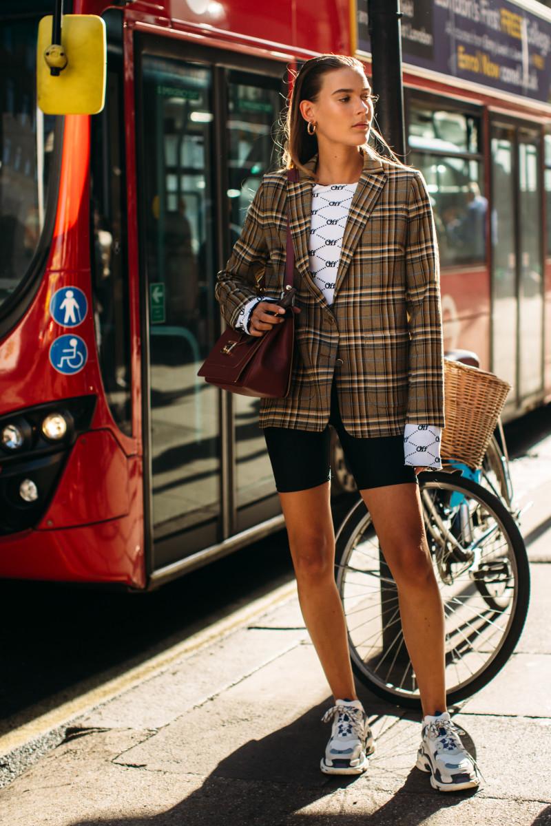 Bike shorts at London Fashion Week's Spring 2019 season. Photo: Imaxtree