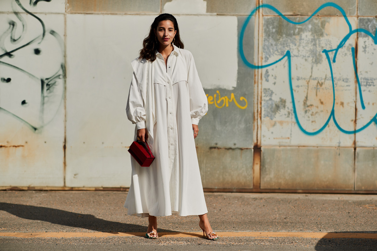 Shirt dress street style at Copenhagen Fashion Week. Photo: Imaxtree
