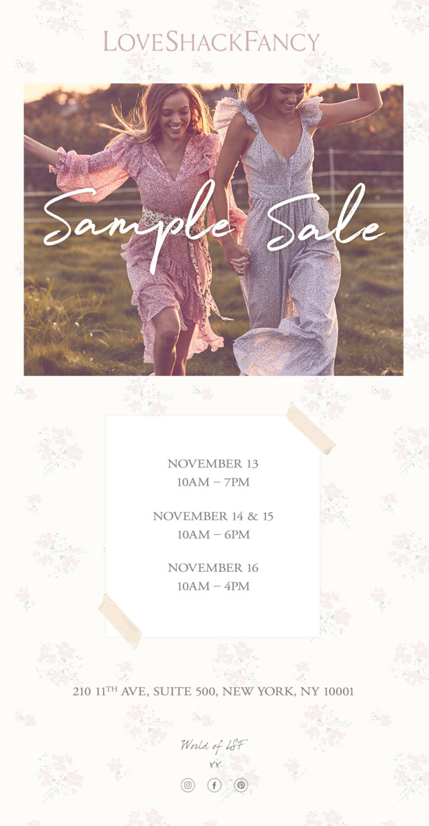 73aee22be8 LoveShackFancy Sample Sale, 11/13 - 11/16 - New York, NY - Fashionista