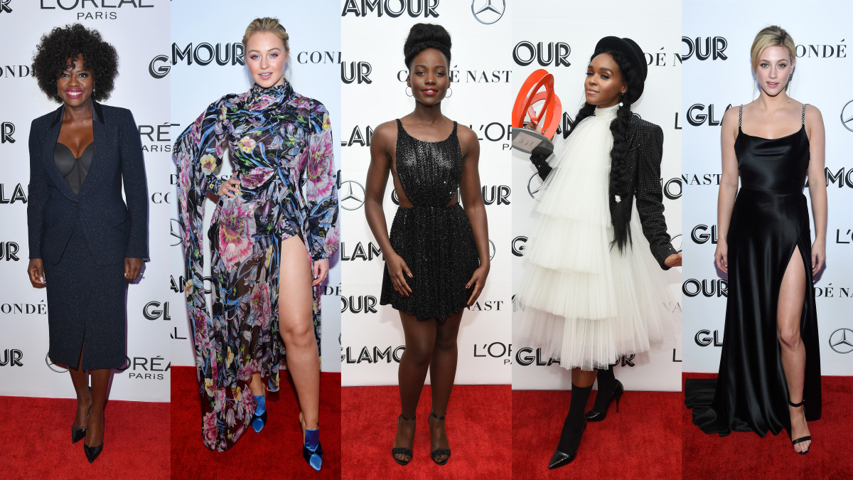 Viola Davis, Iskra Lawrence, Lupita Nyong'o, Janelle Monáe and Lili Reinhart at the 2018 'Glamour' Women of the Year Awards. Photos: Angela Weiss/AFP/Getty Images (1); Dimitrios Kambouris/Getty Images for Glamour (4)