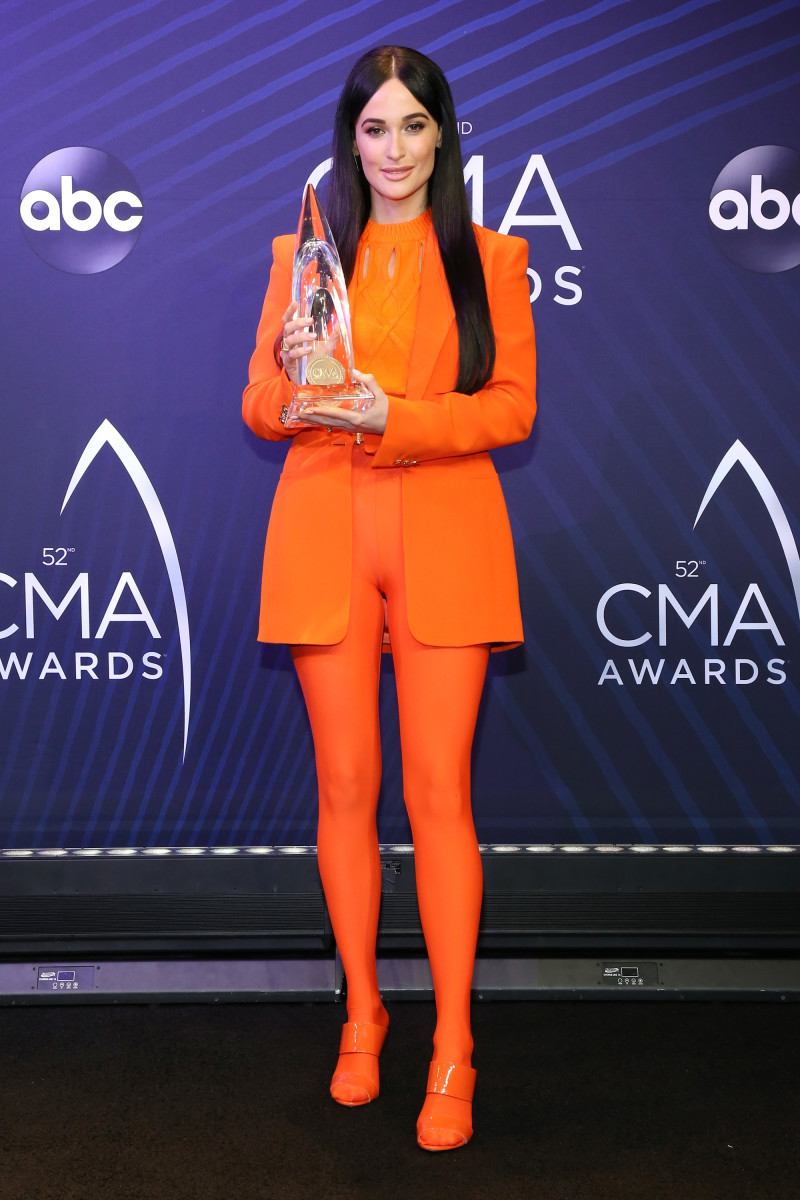 Kacey Musgraves in a full look from Versace's Spring 2018 Tribute Collection following the 2018 Country Music Awards in Nashville on Wednesday. Photo: Terry Wyatt/Getty Images