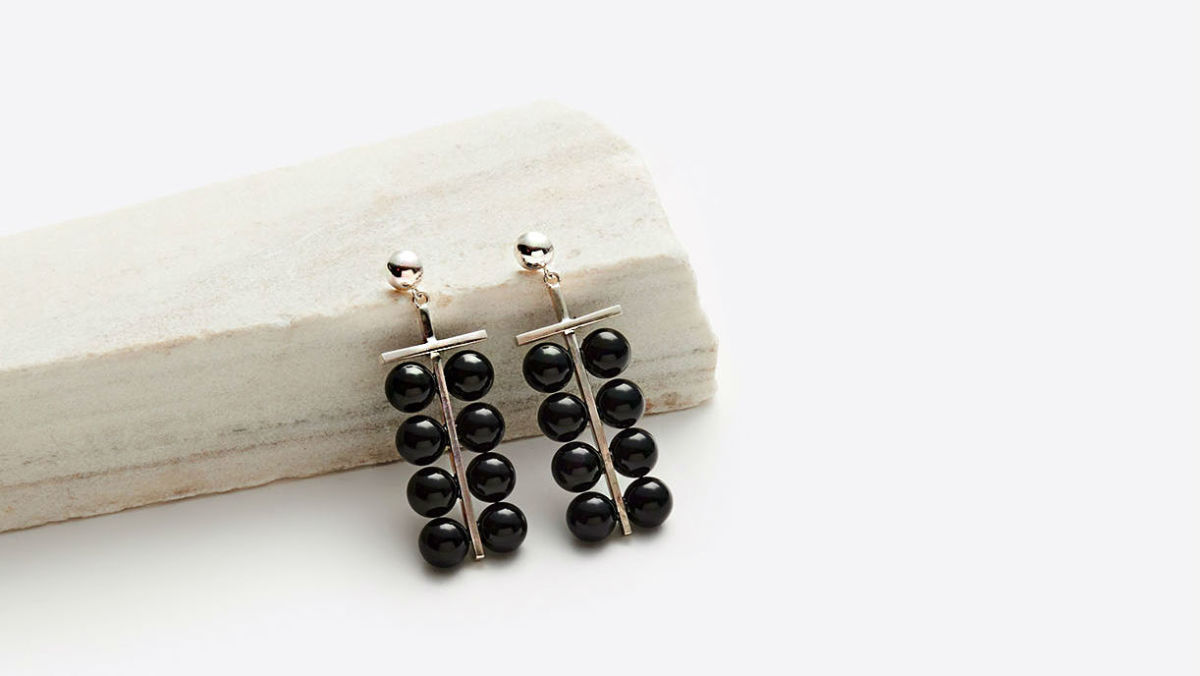 Sophie Buhai onyx abacus earrings, $675, available here.