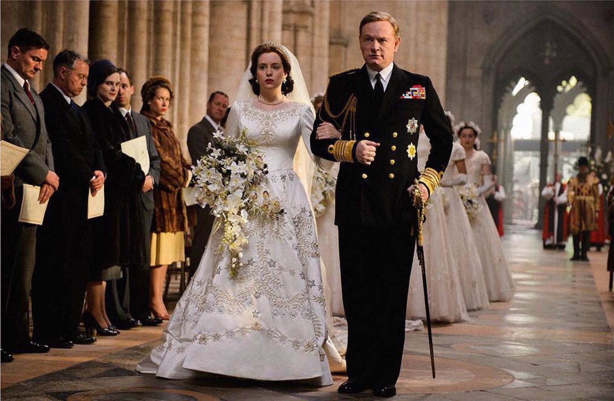 Elizabeth and her father, King George VI (Jared Harris) during her wedding on 'The Crown'. Photo: @thecrownnetflix/Instagram